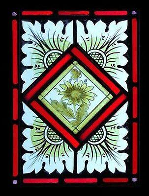 Victorian Painted Floral Antique English Stained Glass Window