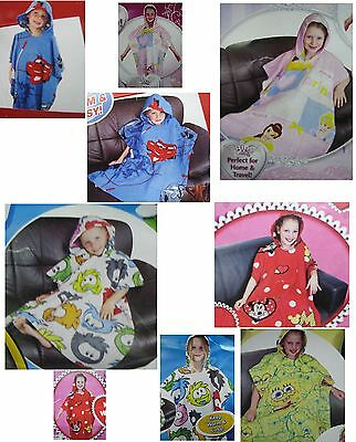New Novelty /tv Characters Kids / Boys / Girls Childrens Fleece Poncho Blanket