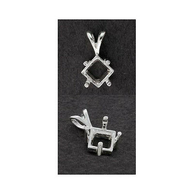 (4mm - 8mm) Square Side Mount Solid Sterling Silver Pendant Setting