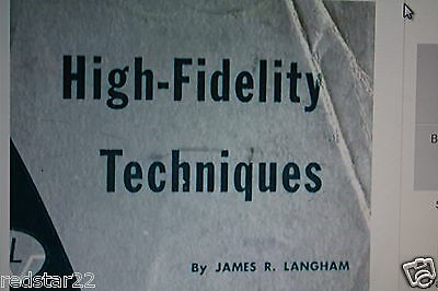 High Fidelity Techniques on CD Speakers & Amplifier design - Great Book !
