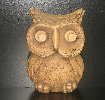 VTG COMPOSITE/RESIN RETRO BROWN HORNED OWL UNIQUE WALL HANGING OR DECOR