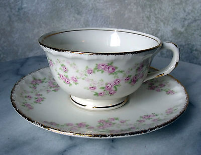 TEA CUP & SAUCER SET (footed), FLORENCE by Pope Gosser China, Scalloped Edge