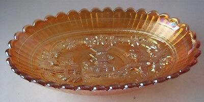"IMPERIAL Carnival Glass "" Windmill "" Marigold 8 1/2"" Oval Bowl/Dish"