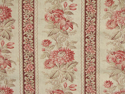 Antique French fabric  material 19th century madder brown fabric printed cotton