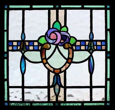 The Most Beautiful Mackintosh Rose Antique English Stained Glass Window