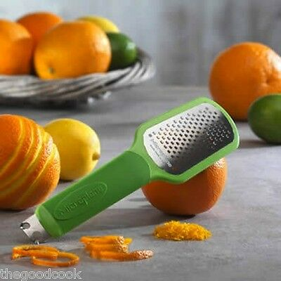 New  Green Microplane Ultimate Citrus Bar Kitchen Tool 2.0  Zester Twists Scorer