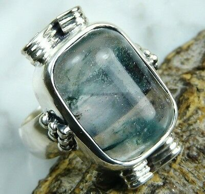 Natural Heavy-Weight Moss Agate Silver Ring Size 8.25    AGR176
