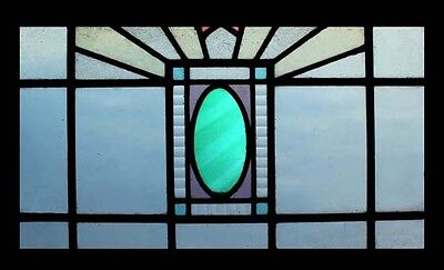English Art Deco Classic Emerald Stained Glass Window