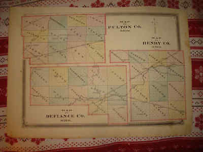 Superb Antique 1875 Fulton Henry Defiance County Ohio Handcolored Map Rare Nr