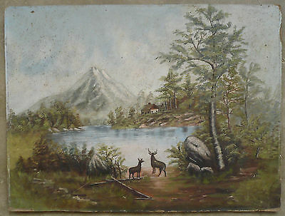 Antique landscape late 19th Century old scene with deer and rustic barn mountain
