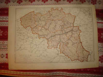 Huge Gorgeous Antique 1875 Spain Portugal Belgium Luxembourg Johnston Map Nr