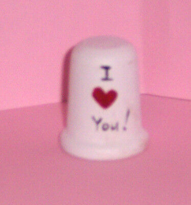 "Valentine ""Stocking Stuffer"" Wooden ""I Love You"" Display Thimble.."