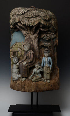 19th Century, Mandalay, Antique Burmese Wooden Panel with Figures Design