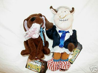 """bull Clinton""+""buddy The Dog""-Set Of Meanies  Retired"