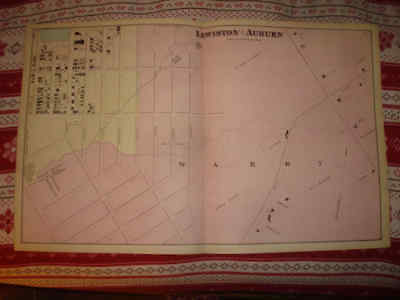 Superb 1873 Huge Antique Lewiston Auburn Androscoggin County Maine Handclr Map N