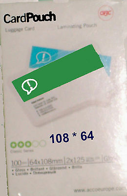 laminating pouches 64*108 mm ID or luggage business card  large credit card size