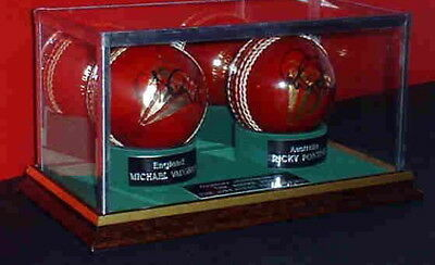 Signed Double Cricket Ball - Glass Display Case Only