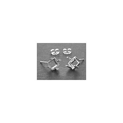 (4mm - 8mm) Square Side-Set Solid Sterling Silver Cast Earring Settings