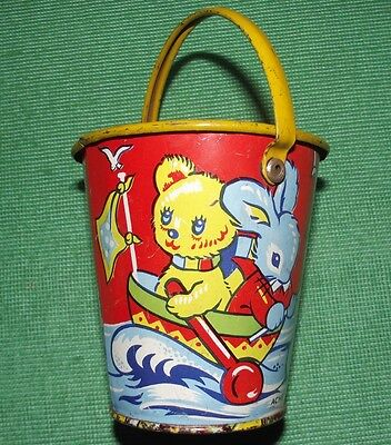 c1930  Tinplate Seaside Sand Pail Bucket by Acme England with Teddy Bear Litho