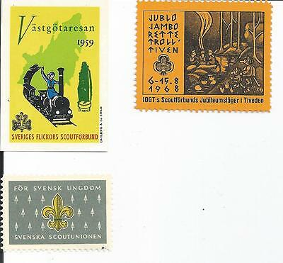 BOY SCOUT CINDERELLAS SEALS AND LABELS from SWEDEN Lot e