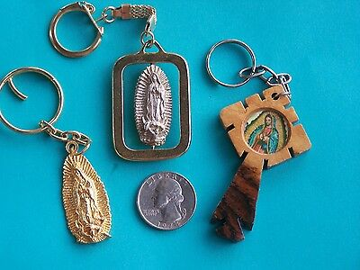 Lot of 3 Unique Virgin of Guadalupe Keychains - Mexico