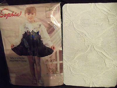 2 Pair*Girls Black Lace Tights*Bow Design*S*M*Lg*XL*Weddings*Pageant*TOP Quality