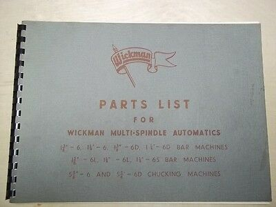 Wickman Automatic Parts List Manual~Bar/Chucking Machines~6/6D/6L/6S~Lathe