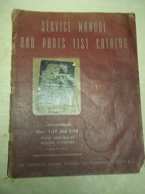 Cincinnati Service Manual/Parts List Catalog~1-12/1-18 Milling Machine