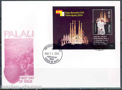 PALAU POPE BENEDICT XVI VISITS SPAIN S/S  FIRST DAY COVER