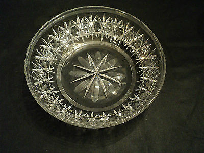 """Beautiful Signed Hawkes Engraved Cut Glass Large 10"""" Bowl"""