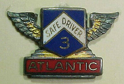 50s *Atlanic Oil* Sterling 3 year Safe Driver Enamel Pin  LGB