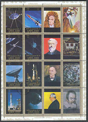 Ajman 1973 History Of Space Cto Used Full Sheet #S41