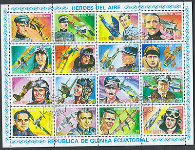 Equatorial Guinea 1974 Aviation Heroes Aircrafts Pilots Full Sheet #S65