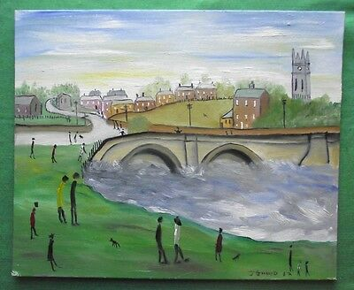 """The Riverside"" Northern Art Evocative Original Oil Painting by John Goodlad"