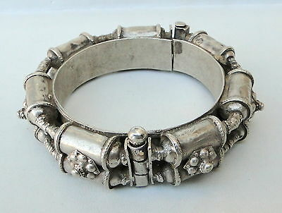 Vintage Antique Ethnic Tribal Old Silver Hinge Bracelet Bangle Rajasthan India
