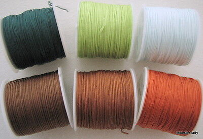 100ft Reel of 1mm diameter woven IMITATION SILK CORD - choice of six colours