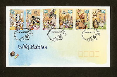 2001 FDC2156 WILD BABIES PEEL & STICK First Day Cover
