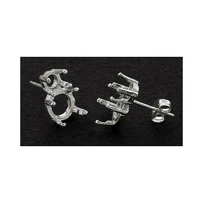 2-Stone - (1) 8mm Round - (1) 5mm Round Sterling Silver Cast Earring Settings