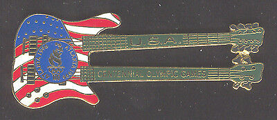 1996 Atlanta Summer Olympic Guitar Pin For U.s.a. Double Neck Limited To 10,000