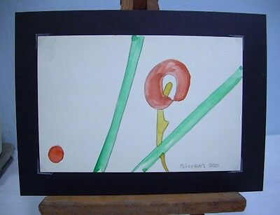 C Peterson ORIGINAL fine ART watercolor PAINTING = minimalist = RED FLOWER aceo