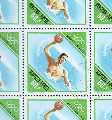 Hungary 1972 Olympic Games Water Polo 60f Full Complete Sheet #S174