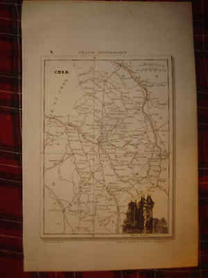Antique 1833 Cher Bourges Nevers France Map Wine Food Region Area Interest Nr