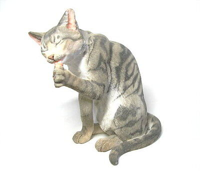 NEW! OVP! Tabby Cat Sitting-Cleaning Paw