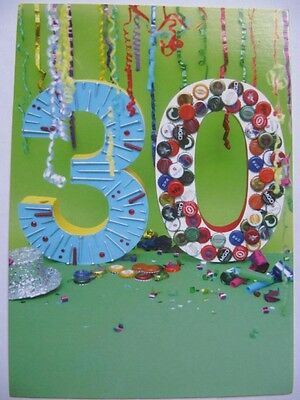 Wonderful Colourful Decorated 30 Glossed 30Th Birthday Greeting Card