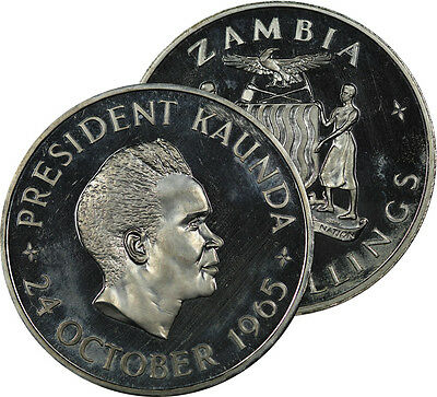 1965 Zambia 5 Shillings Coin Proof Bu
