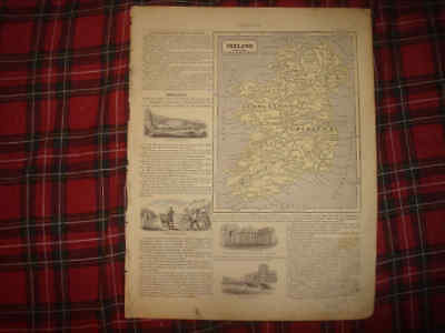 Superb Antique 1862 Ireland Handcolored Map W Art Vignette Engravings Rare Nr