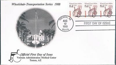 1988 Wheel Chair Plate Number Coil Sc 2256 PNC First Day Cover Strip of 3 FDC