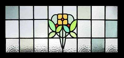 Rare Yellow Mackintosh Rose Antique English Art Nouveau Stained Glass Window