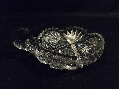 """Nice American Brilliant Period (Abp) Cut Glass """"Nappy"""" Dish, Starburst & Fans"""