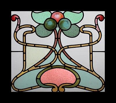 Enchanting Art Nouveau Beauty Painted Fruit Antique English Stained Glass Window
